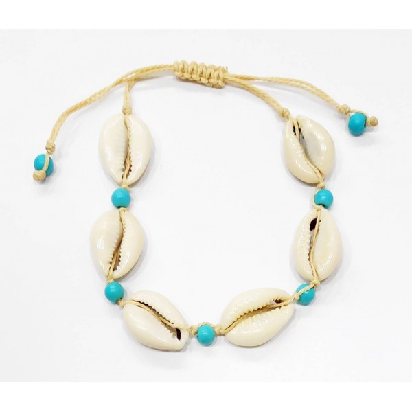 Anklet with Natural Seasheells and Turquoise colored pearls