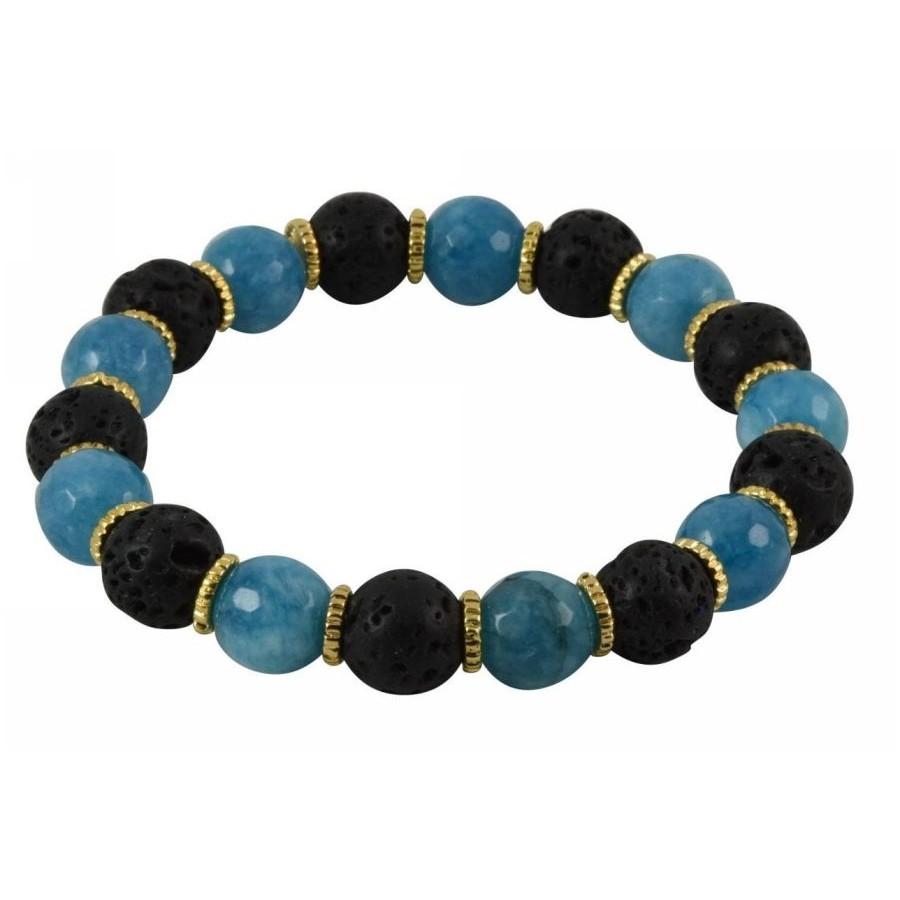 Bracelet with lava pearls and semi-precious stones