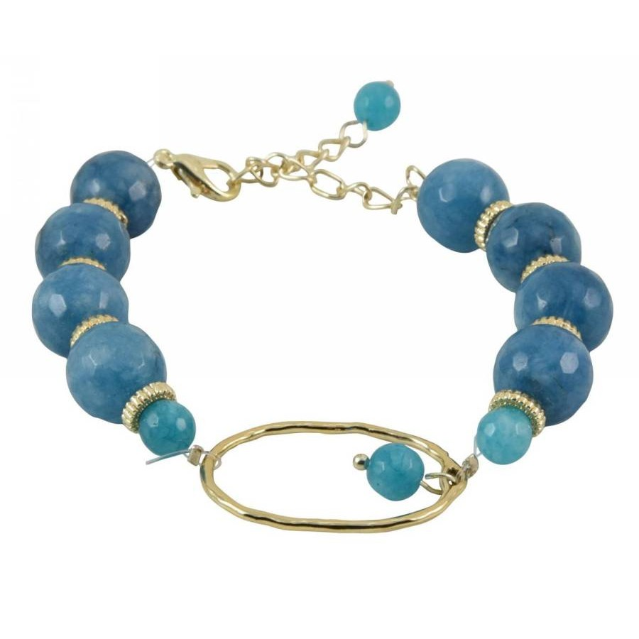 Bracelet with polygonal semi-precious stone pearls