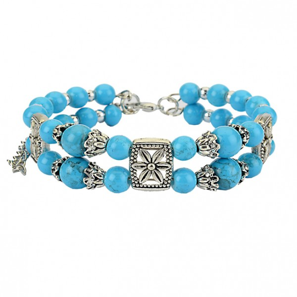 Bracelet alloy with turqoise colored pearls
