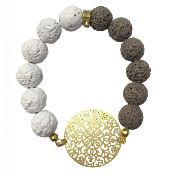 Bracelet with metal elements and lava pearls