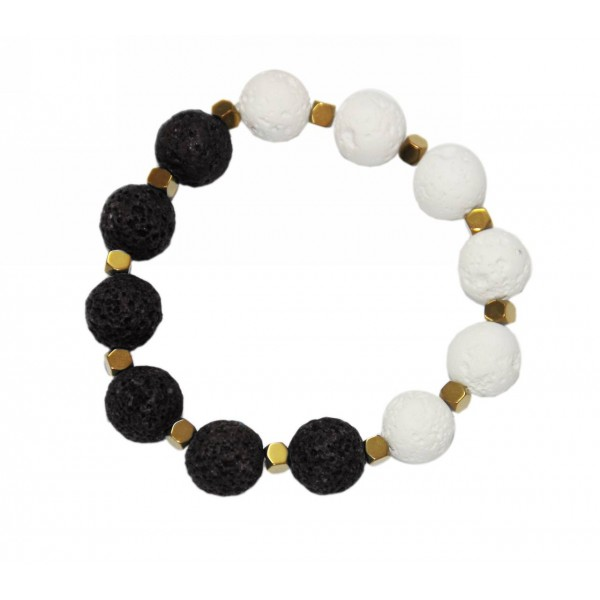 Bracelet with lava pearls and hematite