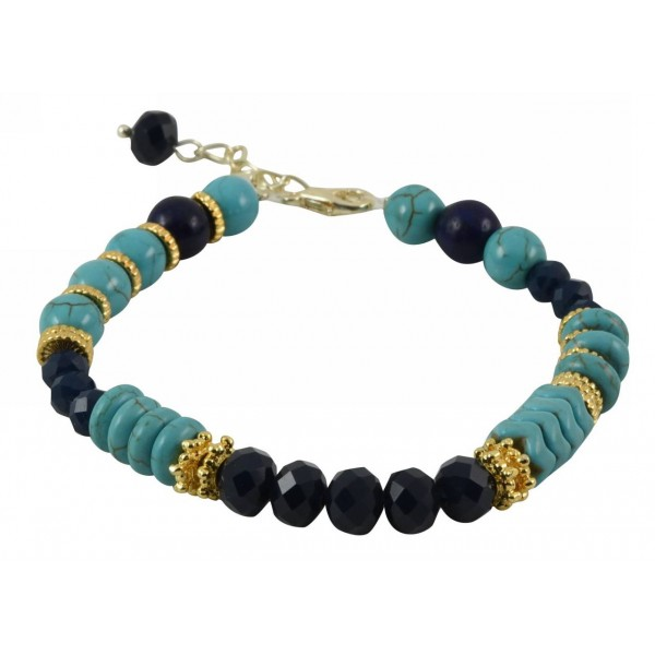 Bracelet with turquoise colored pearls and hematite