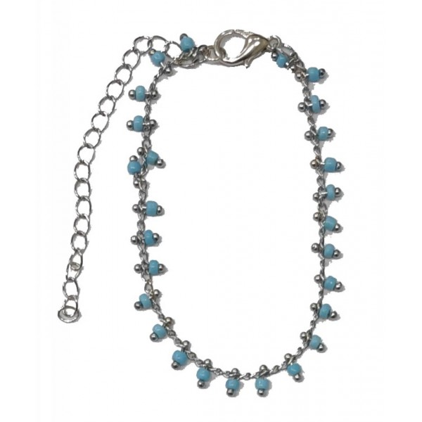 Chain Bracelet with Light blue Pearls