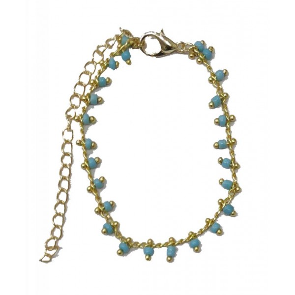 Chain Bracelet with Turquoise Pearls