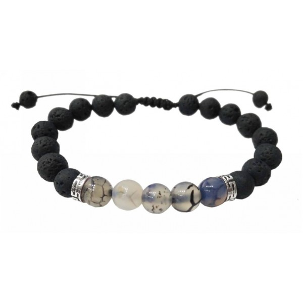 Bracelet with Lava and Agate pearls