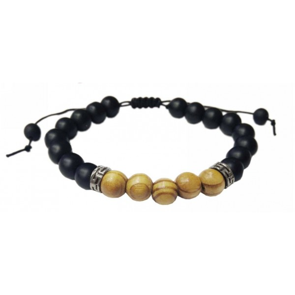 Bracelet with Glass and Wooden pearls