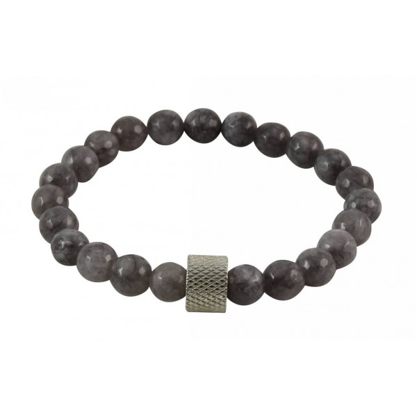 Bracelet with polygonal Limestone pearls and stainless steel part