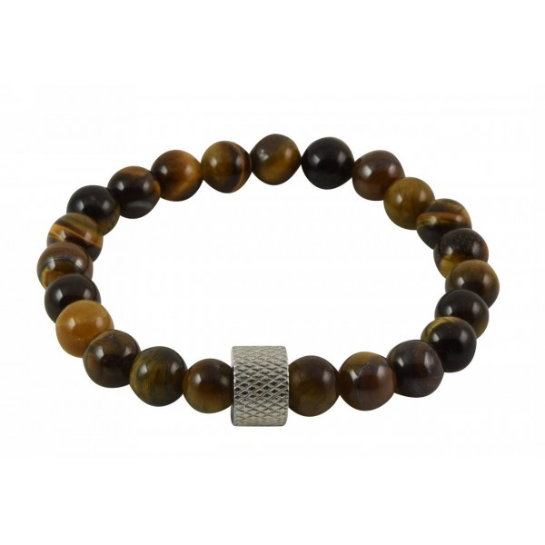 Bracelet with polygonal semi-precious stone (tiger's eye) pearls and stainless steel part