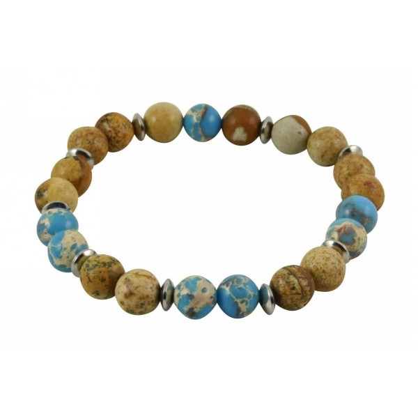 Bracelet with polygonal Agate pearls and stainless steel parts
