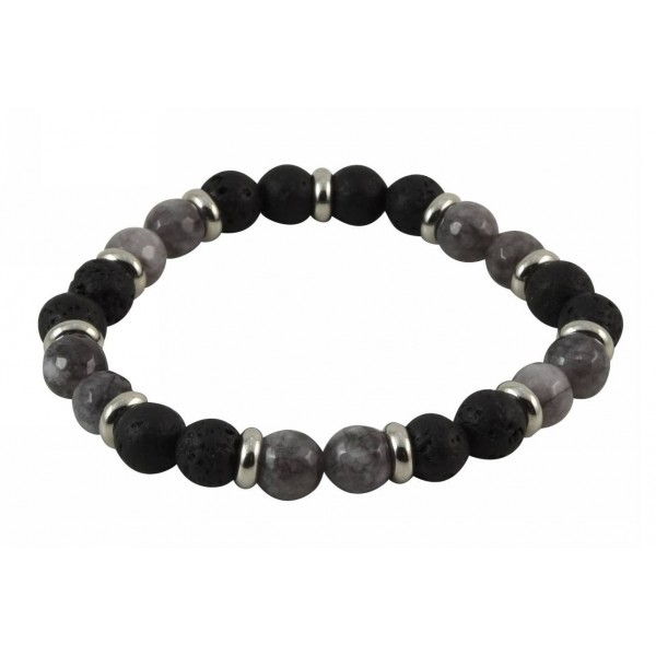 Bracelet with Lava pearls, polygonal Limestone pearls and stainless steel parts