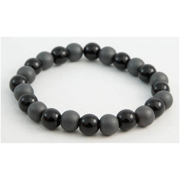 Bracelet with Hematite and Agate pearls