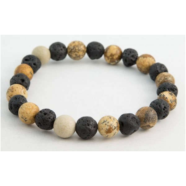 Bracelet with Lava and Limestone pearls