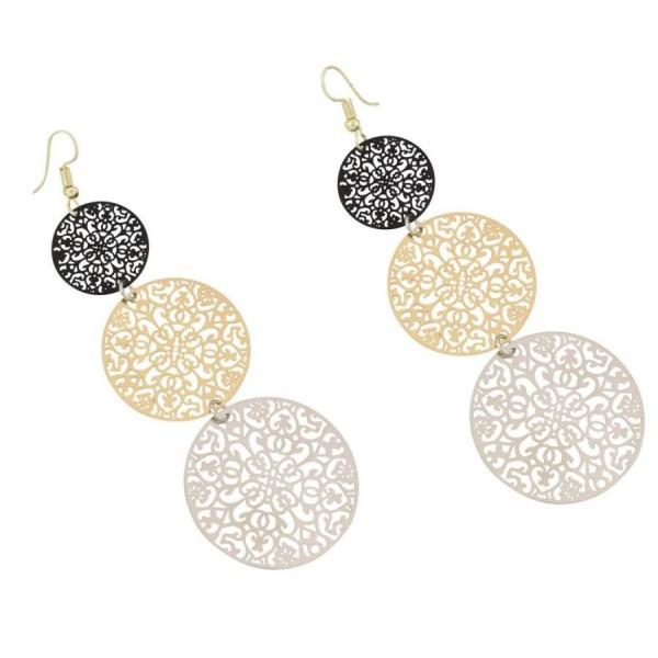 Earrings with metal filigree elements