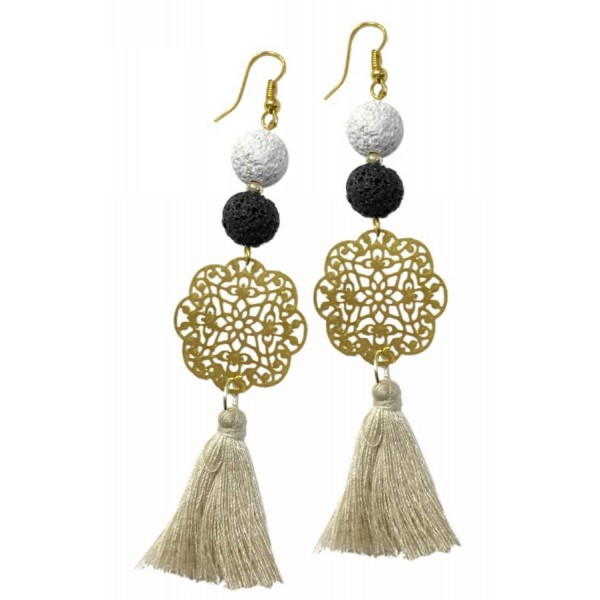 Earrings with metal elements, lava pearls and tassel