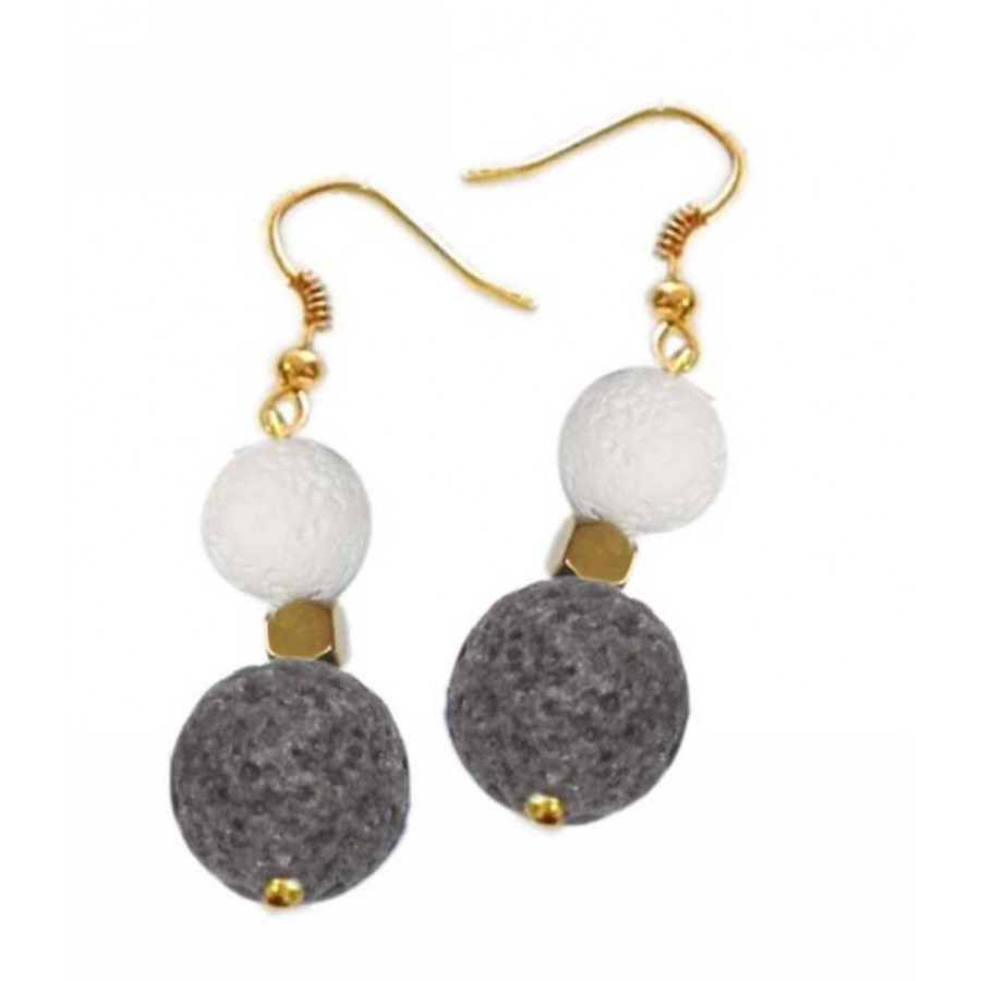Earrings with metal elements, lava pearls and hematite