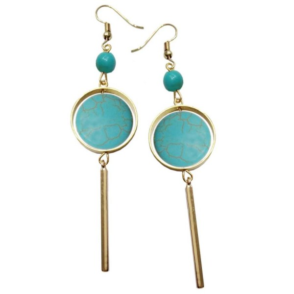 Earrings with metal elements and turquoise color pearl