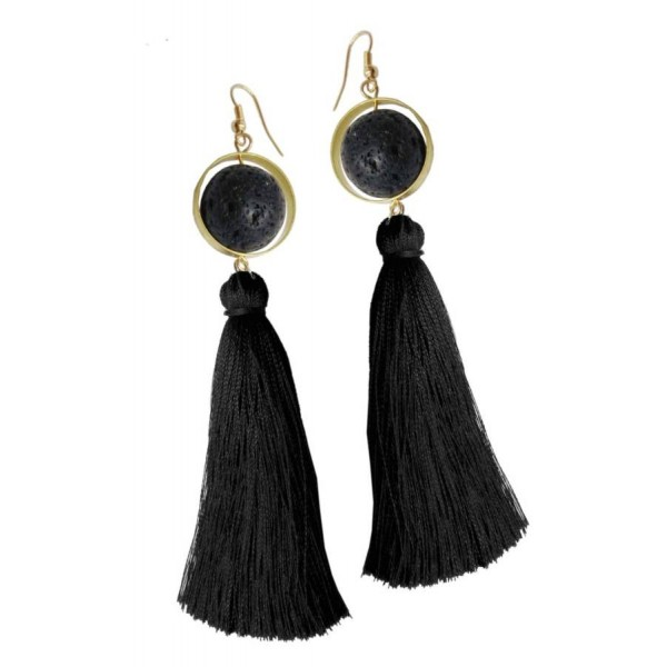 Earrings with metal elements , lava pearl and tassel