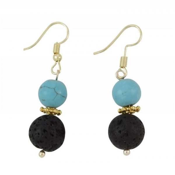 Earrings with metal elements, turquoise color pearls and lava