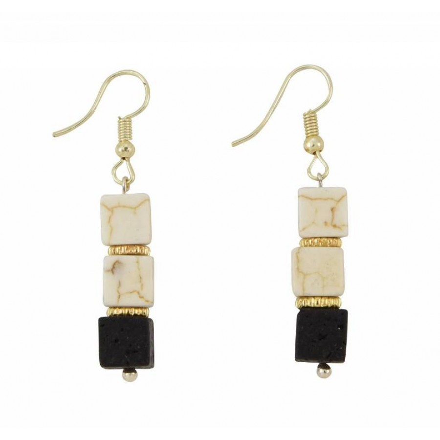 Earrings with metal elements, ekru colored pearls and lava
