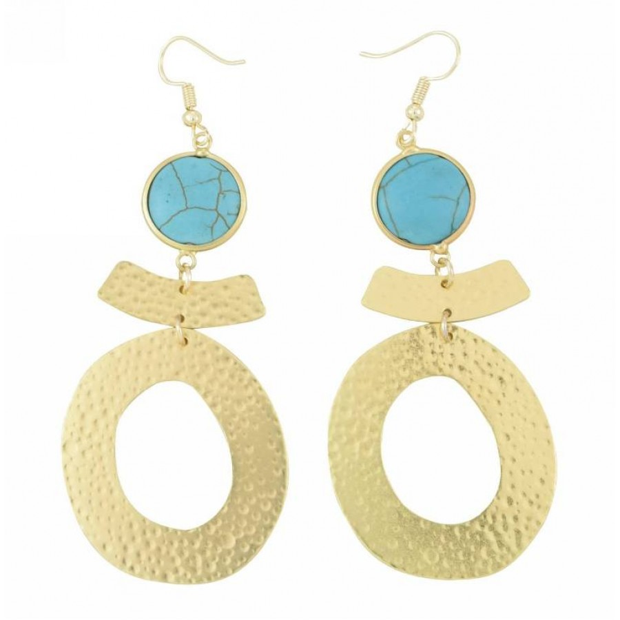 Earrings with metal elements and turquoise color pearls