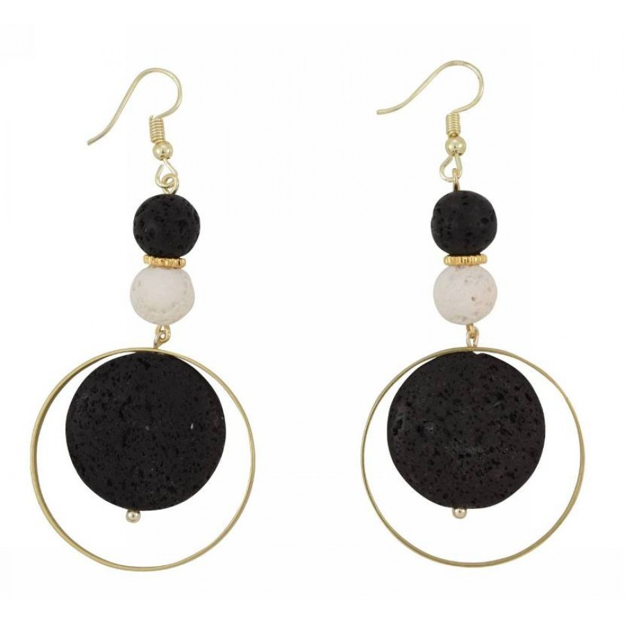Earrings with metal elements and lava pearls