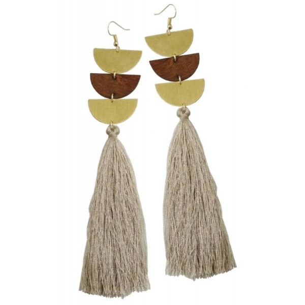 Earrings with wooden, metal elements and tassel
