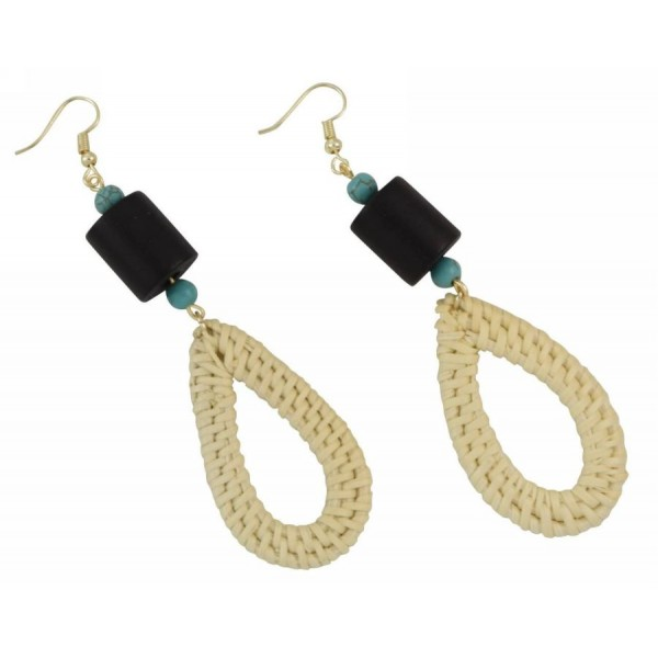 Earrings with wooden elements and wicker