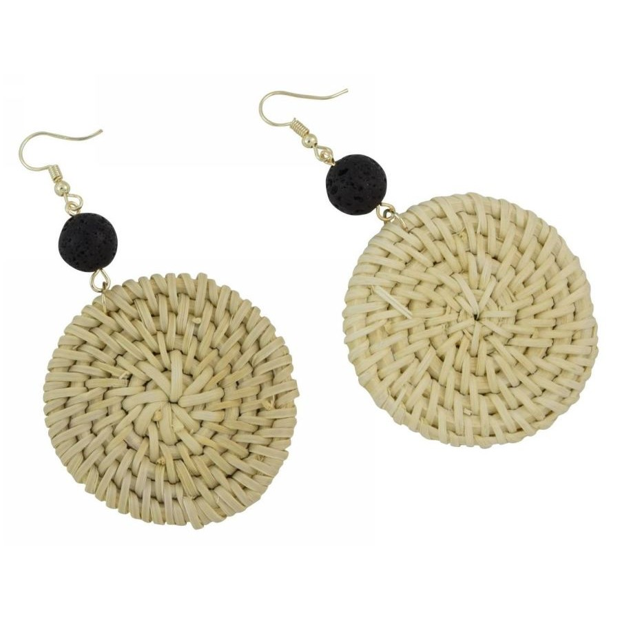 Earrings with wooden elements, lava pearl and wicker