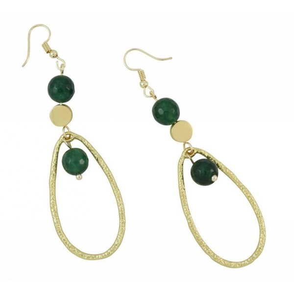 Earrings with metal elements and pearls made of semi-precious stone