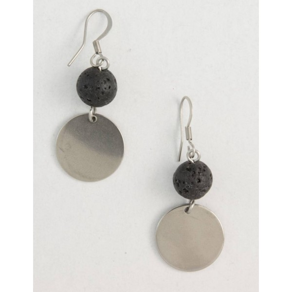 Earrings with metal elements and lava pearl