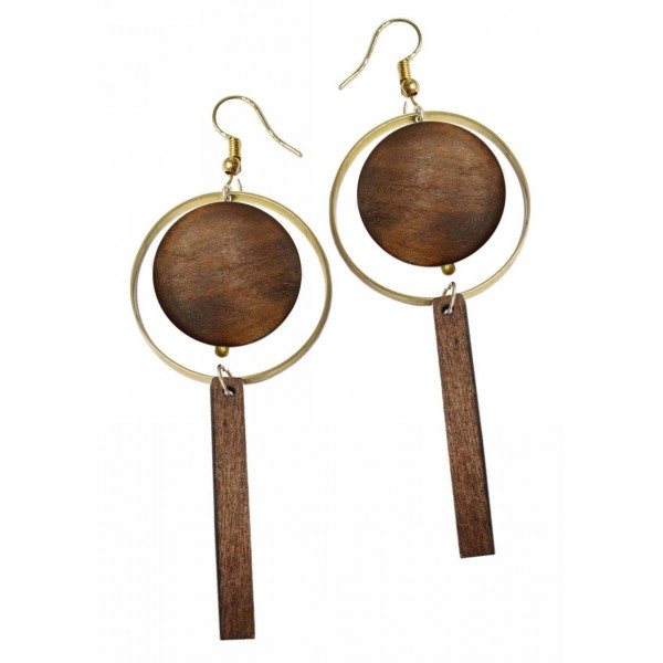 Earrings with metal and wooden elements