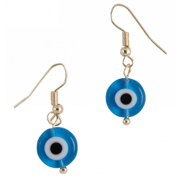 Earrings with metal elements and evil eye pearl