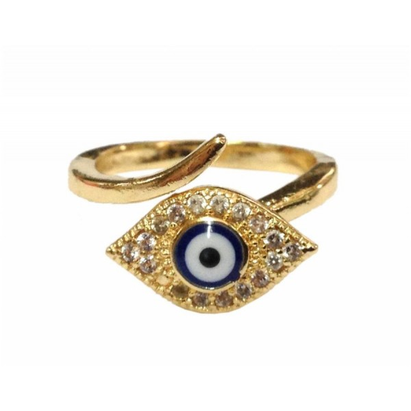 Metal ring with evil eye