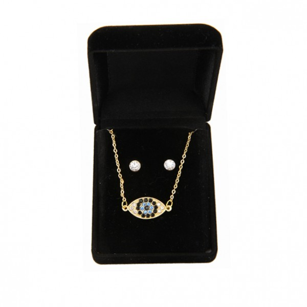 Set of Necklace and Earrings in Velvet Box