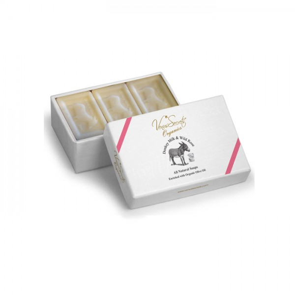Soap Donkey Milk and Wild Rose 3 Soaps in Box 450g (3x150g)