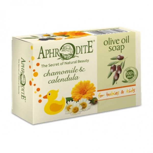 APHRODITE Olive oil soap with Chamomile & Calendula for Babies & Kids 100g / 3.38 oz