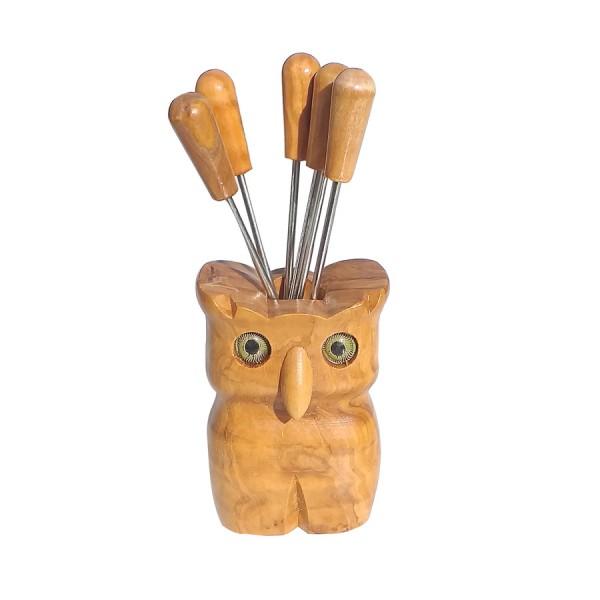 Olive Wood and metal Fork Set